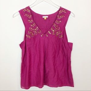 Anthropologie leifsdottir pink gold sequence top